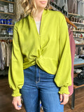 Twist Front Lime Blouse