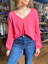 Load image into Gallery viewer, Pink V Neck Sweater