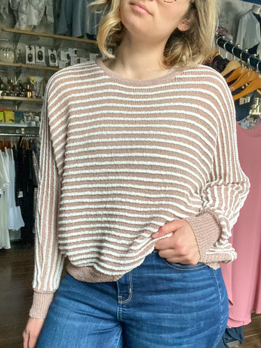 Striped Knit Top - Blush Combo