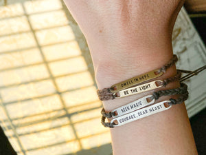 Choose Love Braided Bracelet - (Brown/Gold, Grey/Slate)