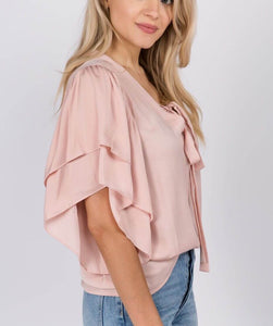 Light Pink Flutter Sleeve V-Neck Top