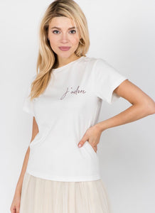 White 'J'adore' Embroidered Tee