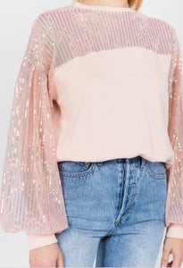 Light Pink Crewneck with Puff Sleeves
