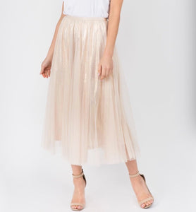 Gold Long Mesh Skirt