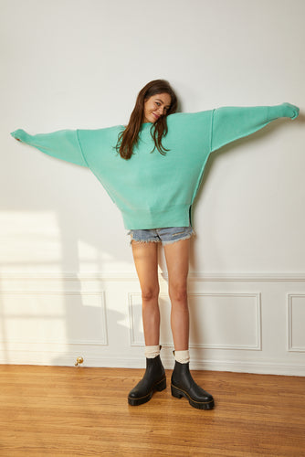 Oversized Crew Neck Sweater - Aqua Green