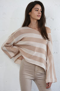 Knit Striped Sweater with Sewn Sleeves