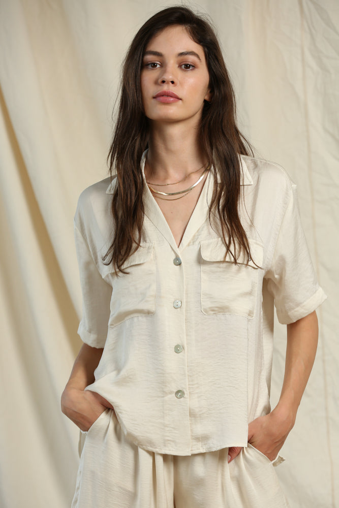 Woven Crepe Button Down Blouse