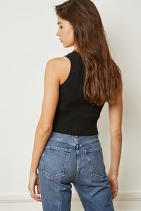 Knit Crew Crop Top - Black