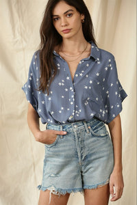 Star Denim Button Down Shirt