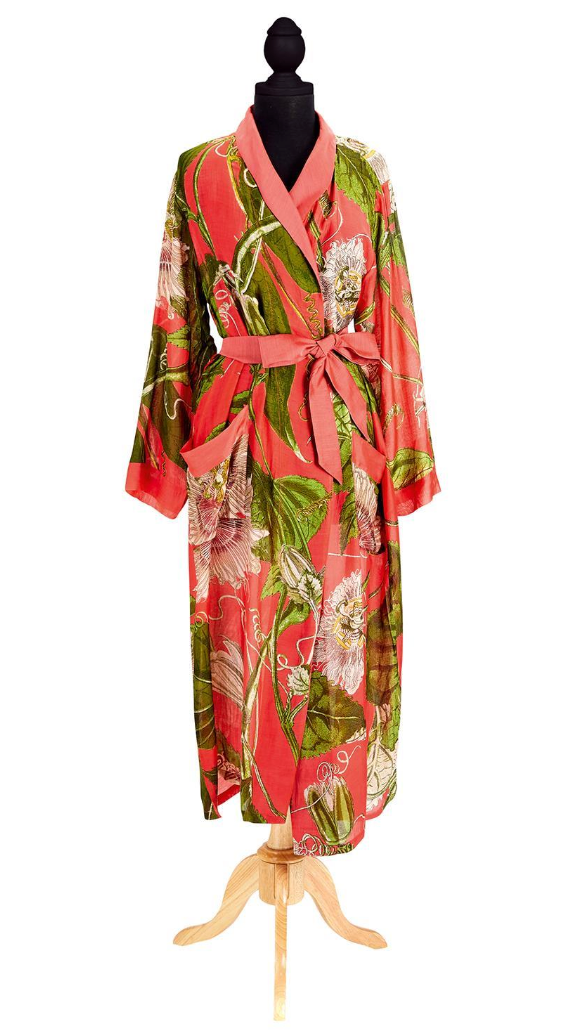 Coral Passion Flower Robe Gown