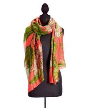 Load image into Gallery viewer, Coral Passion Flower Scarf