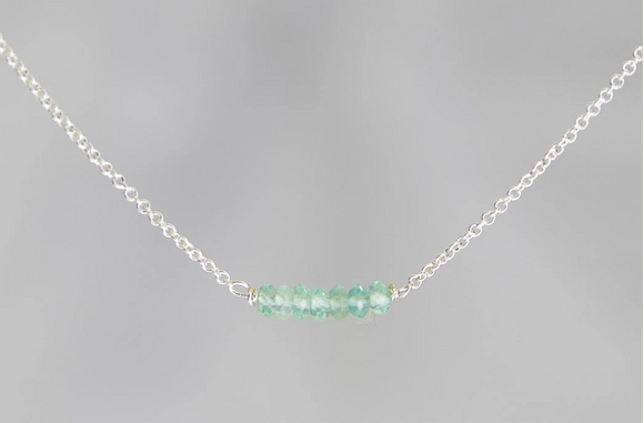 Apatite Lucky 7 Rondelle Silver Necklace