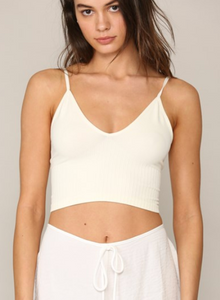 Seamless Ribbed V-neck Spaghetti Brami