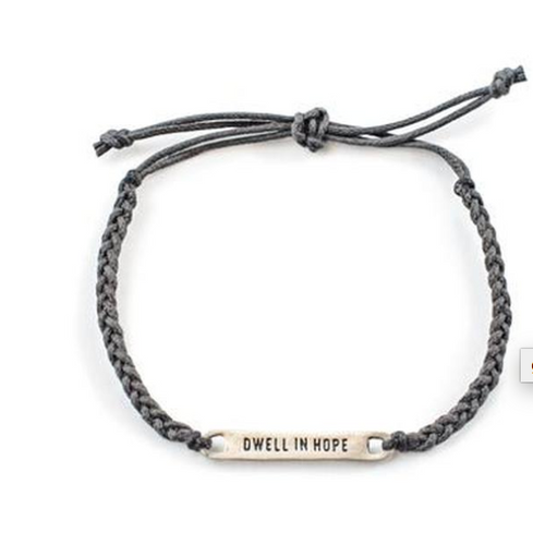 Dwell in Hope Braided Bracelet - Grey/Slate