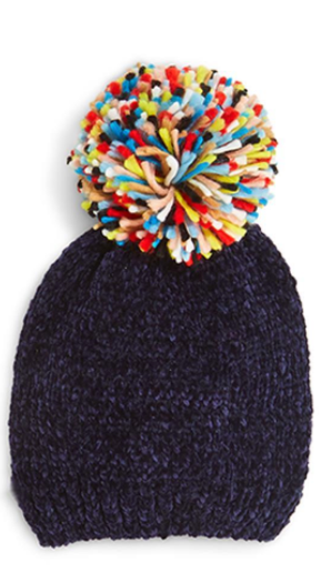 Chenille Hat with Pom Pom