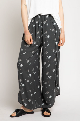Floral Side Wrap Pants