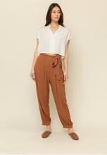Load image into Gallery viewer, Tie Front Textured Pants - Spice