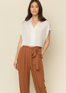 Tie Front Textured Pants - Spice