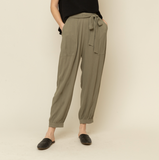 Tie Front Textured Pants - Olive