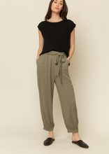 Load image into Gallery viewer, Tie Front Textured Pants - Olive