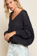 Load image into Gallery viewer, Charcoal Draped Knit Sweater