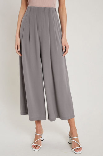 Cropped Wide Pants - Grey