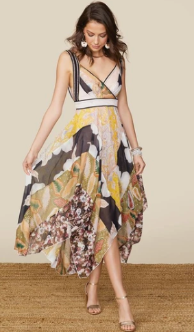V-Neck Printed Chiffon Dress
