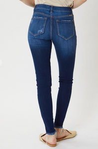 High Rise Super Skinny Distressed Hem Jeans