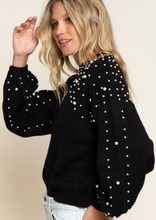 Load image into Gallery viewer, Pearl Detailed Sweater- Jet Black
