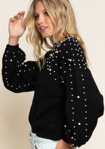 Pearl Detailed Sweater- Jet Black