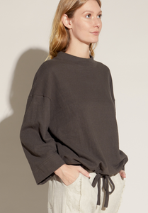 Cotton Terry Mock Neck Sweater