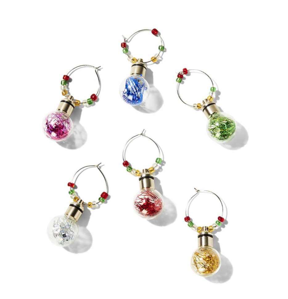 Good Cheer Set of 6 Light Up Tinsel Filled Ornament Wine Glass Charm Identifiers