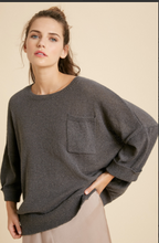 Load image into Gallery viewer, Charcoal Drop Shoulder Sweater