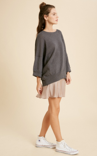Charcoal Drop Shoulder Sweater