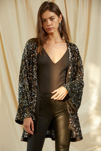 Load image into Gallery viewer, Black Multi-Colored Sequin Jacket