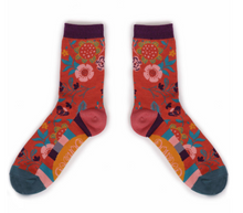 Load image into Gallery viewer, Scandi Floral Socks - Tangerine