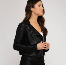 Load image into Gallery viewer, Printed Faux Suede Biker Jacket