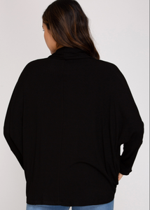 Dolman Sleeve Ribbed Knit Top - Black