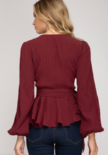 Load image into Gallery viewer, Balloon Sleeve Blouse - Cranberry
