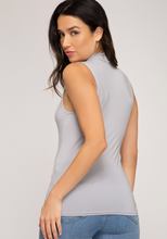 Load image into Gallery viewer, Sleeveless Mock Neck Knit Top - Grey