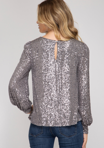 Sequin Balloon Sleeve Top