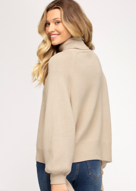 Tie-Sleeve Turtle Neck Sweater - Taupe
