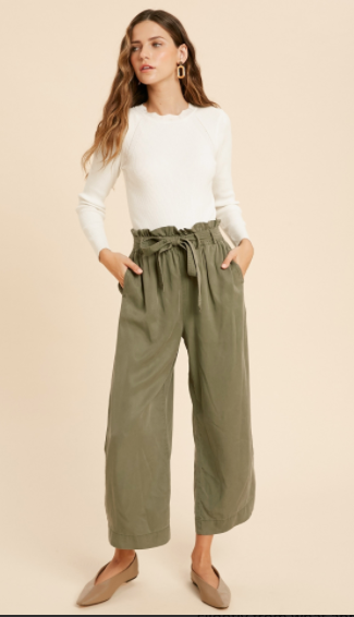 Belted Tencel Capri Pants- Olive