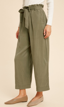 Load image into Gallery viewer, Belted Tencel Capri Pants- Olive