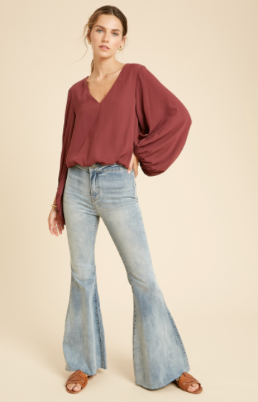 Chiffon Bubble Sleeve Bodysuit- Wine