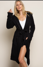 Load image into Gallery viewer, Berber Fleece Tunic Cardigan - Black