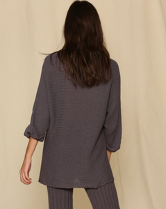 Ribbed Knit Tunic - Charcoal