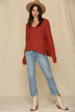 Load image into Gallery viewer, V-Neck Knit Sweater - Rust