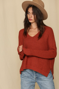 V-Neck Knit Sweater - Rust