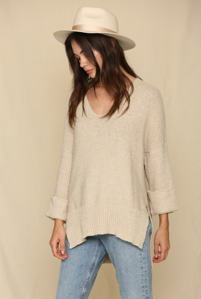 V-Neck Tunic Top - Natural